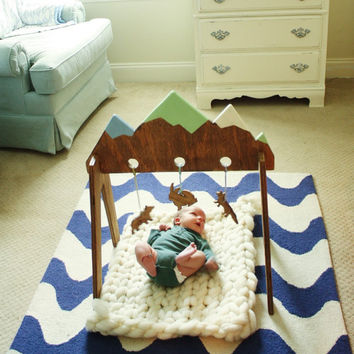 Handpainted nontoxic wooden baby activity gym - The Mountains