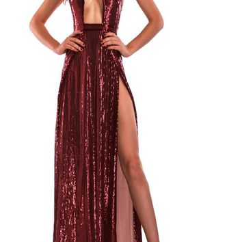 Burgundy Cut Out Backless Double Slit Halter Neck Homecoming Party Maxi Dress