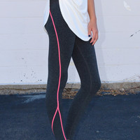 Yoga Criss Cross Leggings {H. Grey + Coral}
