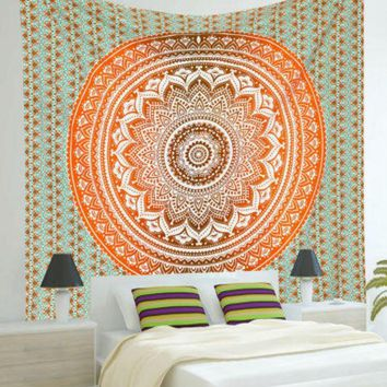 Mandala Bohemian Orange Green Pattern Tapestry