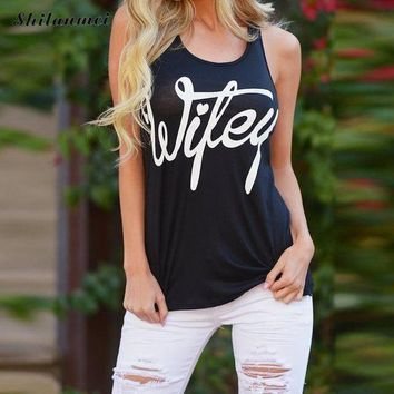 New Casual Summer Low Cut Women Tank Tops Letter Print 2017 Cotton Fashion Sleeveless Vest Camisole Top Women Round Neck Xs Xxl