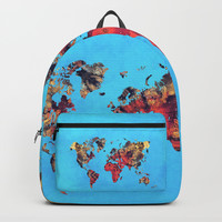 world map art 9 Backpacks by Lionmixart