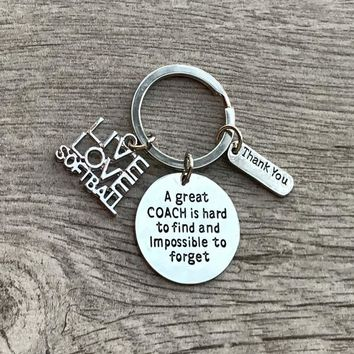 Softball Coach Keychain- Great Coach is Hard to Find But Impossible to Forget
