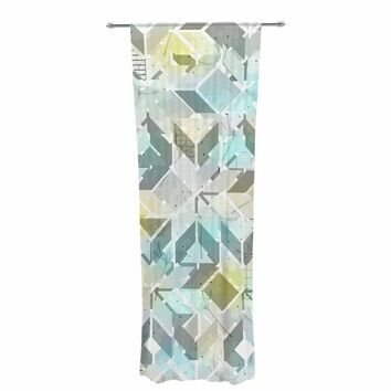 "Michelle Drew ""Living In The City - Winter"" Blue Yellow Mixed Media Decorative Sheer Curtain"