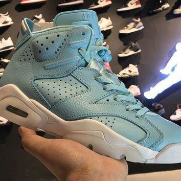 PEAPVX Jacklish Cheap Girls Air Jordans 6 Retro Grade School Pantone Still Blue-white 2017