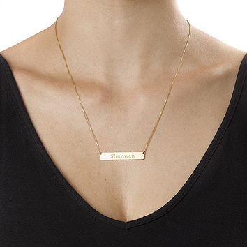 Engraved Bar Necklace - Personalized