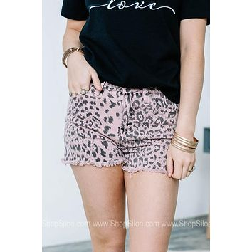 Pink Leopard High Rise Shorts