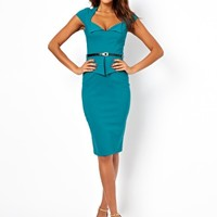 ASOS Pencil Dress With Peplum And Belt