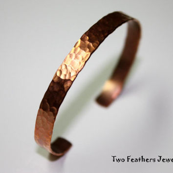 Copper Cuff Bracelet - Hammered Cuff - Copper Bracelet - Skinny Cuff - Textured Bracelet - Solid Copper - For Her - For Him - Metal Cuff