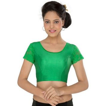 Green Stretchable Lycra Saree Blouse Crop Top