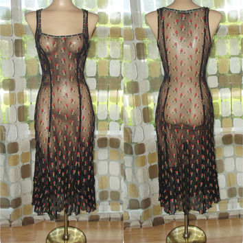 Vintage 90s Betsey Johnson Dress | 1990s Dress | Sheer Mesh Roses | Stretch Beaded See Through Grunge | Sz Large