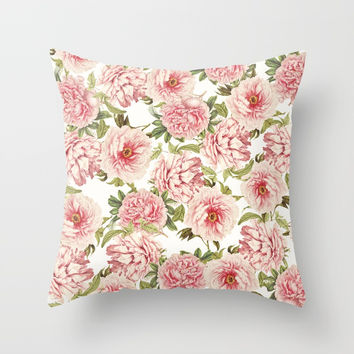 old fashioned peonies Throw Pillow by Sylvia Cook Photography