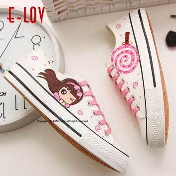 E-LOV 13 Special Painting Unisex Designs Hand-Painted Canvas Shoes Personalized Men Adult Casual Shoes Cute Platform Shoes