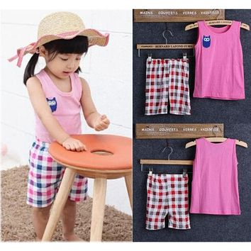 NEW arrival Baby Children Kids Girls Owl Vest T-shirt Tops Plaid Pants Outfits Casual Children's Sets