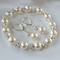 Crystal and Pearl Bracelet and Earring Set