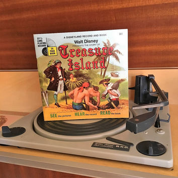 Vintage 1971 The Story of Treasure Island by Disneyland Records - Story Book and Vinyl Record / Walt Disney Productions