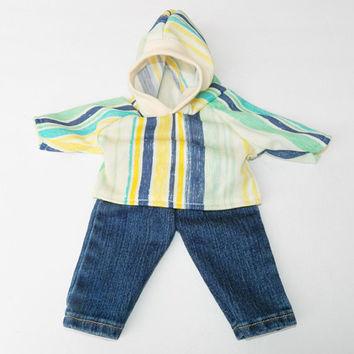 "BITTY BABY BOY Clothes, 15 inch Bitty Baby Clothes, 2-Piece Outfit, Cool ""Stripe"" Hoodie Top,Blue Jeans, 15 inch American Doll Bitty Boy"