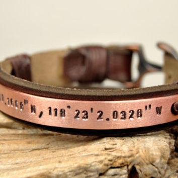 FREE SHIPPING - Men's Personalized Bracelet, Hand Stamped, Men's Leather Bracelet, -Natural Leather- Copper Anchor Bracelet