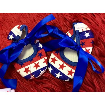 2018 Summer 4th Of July Infant Baby Ribbon Crib Shoes