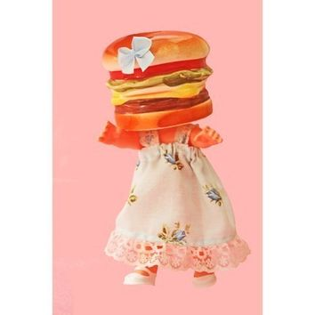 hamburger doll print 8 x12 LITTLE BURGER MONSTER