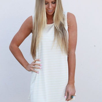 Striped Tank Swing Dress {Nude/Ivory}
