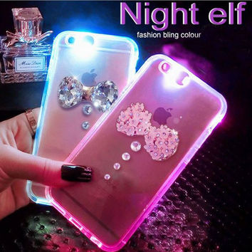 Cool Light-up Luminous Diamond Bow Case for iPhone 6 6s Plus
