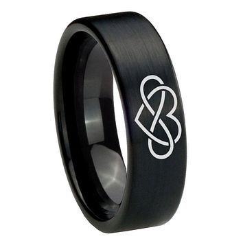 8mm Infinity Love Pipe Cut Brush Black Tungsten Carbide Promise Ring