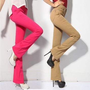 Fashion Classic Candy Color Flare Leg Jeans Pants For Women Korean Slim Stretch Jeans Woman Casual Bell Bottom Jeans Plus Size