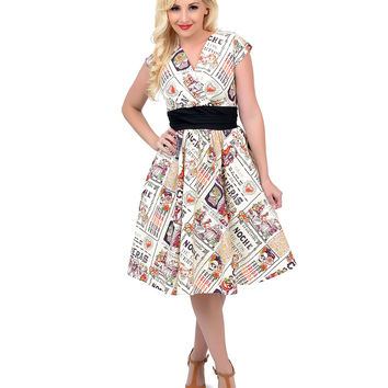1950s Style Cream Day of the Dead Swing Dress