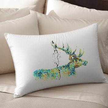 4K Unique Stag Art pillow cover 100% cotton handmade silk Decorative pillow case pillowcase cushion cover Bedroom Present gift