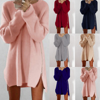 Leisure loose zipper sweater dress