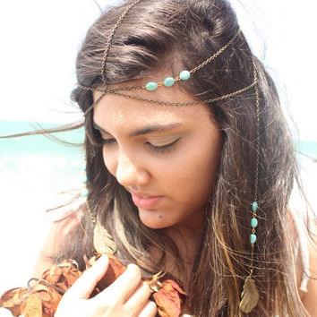 Chain Headband Headpiece Bohemian Hipster Boho Hippie Bronze Turquoise Two Strand Feather Pendant Bridal Statement Jewelry