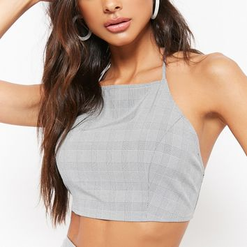 Glen Plaid Halter Crop Top