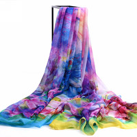 Autumn and winter spring and autumn elegant silk scarf big design chiffon long scarf cape scarf dual beach towel