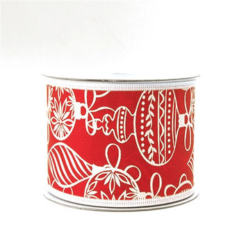 White Ornaments Red Satin Christmas Ribbon, 2-1/2-inch, 10-yard