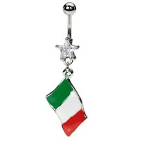 Italian Flag Belly Button Ring