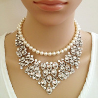 Shelley Statement Bridal Necklace, Crystal Bib Necklace, Hollywood, Chunky, Victorian Necklace, Wedding Necklace