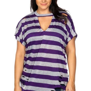 Plus size striped distressed top