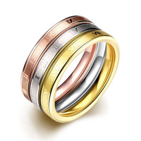 Hot Sale Creative Rome Digital Women's Rings Rose Gold Plated&18K Gold Plated Titanium Steel Ring European Style Free Shipping