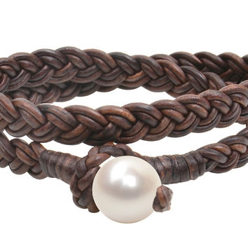 Womens Double Wrap Flat Braid Bracelet, Freshwater