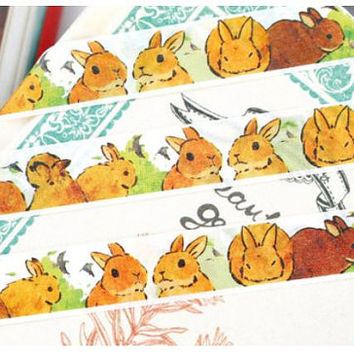 Rabbit washi tape 10M bunny washi tape farm animal cute rabbit masking tape fat rabbit sticker tape rabbit planner sticker label gift