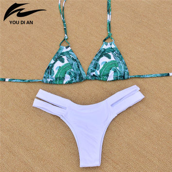 New Style Bikini Sets Brazilian Women Swimwear Padded Sexy Halter Tankini Bandage Hot Sale Floral Push Up Bathing Suit