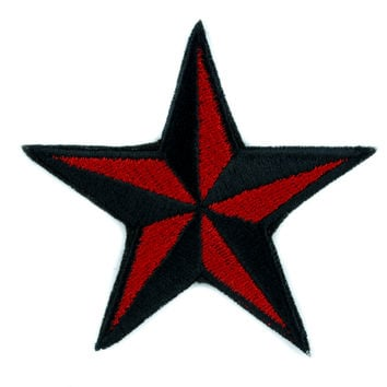Red Nautical Star Patch Iron on Applique Alternative Clothing Tattoo Rockabilly Symbol