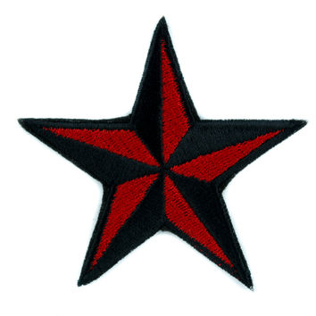 Red Nautical Star Patch Iron on Applique Alternative Clothing Tattoo Rockabilly