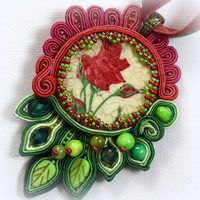 Red Rose Soutache Pendant Necklace, Bead Charm Jewelry,Mom Gift, Art Statement Necklace, Flower Jewelry, Coctail Pendant, Soutache Pendant