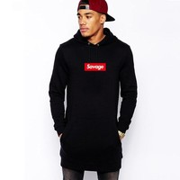Savage Extended Hem zipper Hoodies Multiple styles Hip hop Savage Hoodies Pink black gray khaki colour Savage sweatshirt men