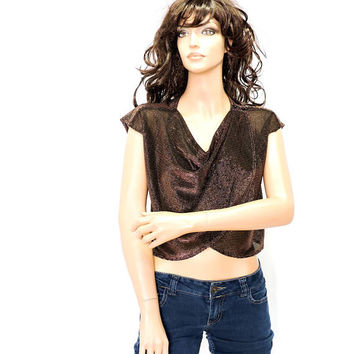 80s gold sequin crop top / size M / vintage 1980s bronze / gold sequined sheer layered cropped top / disco retro party club top
