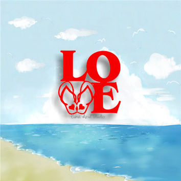 LOVE FLIP FLOPS vinyl decals * tumbler decals * car decals * tropical decals * hibiscus decals * tropical flower decals * flipflops