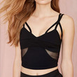 Black Strappy Cami Crop Top with Mesh Cut-Out