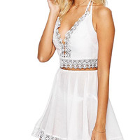 Halter Neck Two Piece Crop Top with Skirt with Lace